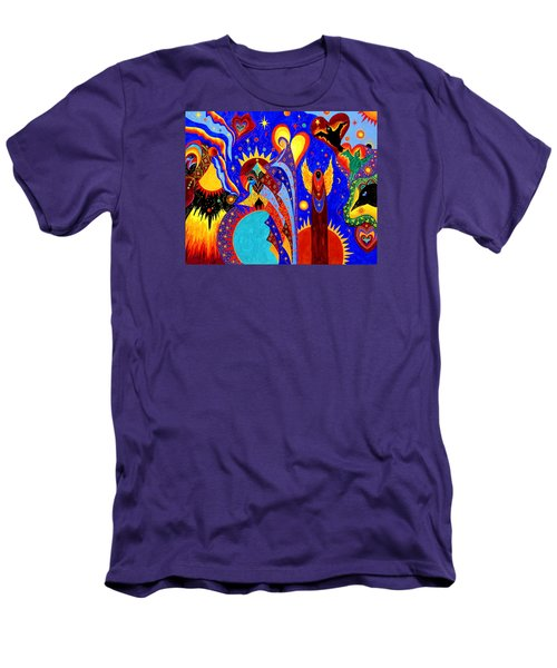 Men's T-Shirt (Slim Fit) featuring the painting Angel Fire by Marina Petro