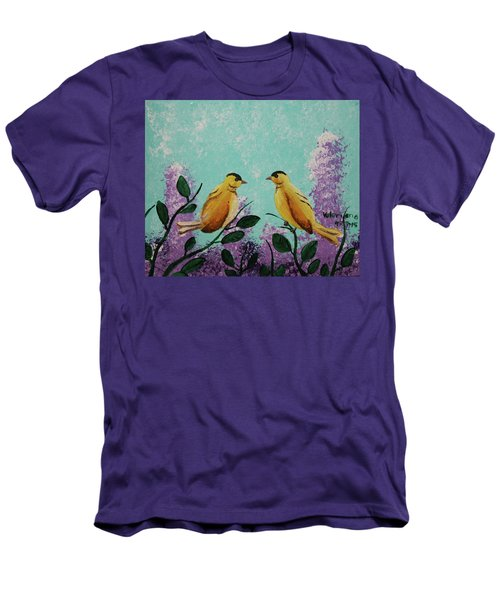 Two Chickadees Standing On Branches Men's T-Shirt (Athletic Fit)