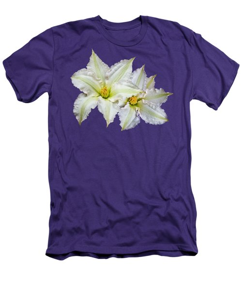 Two Clematis Flowers On Purple Men's T-Shirt (Slim Fit) by Jane McIlroy