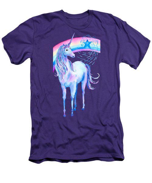 Unicorn And Rainbow Men's T-Shirt (Athletic Fit)
