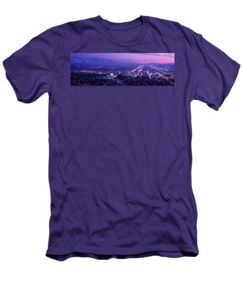 Usa, Utah, Salt Lake City, Aerial, Night Men's T-Shirt (Athletic Fit)