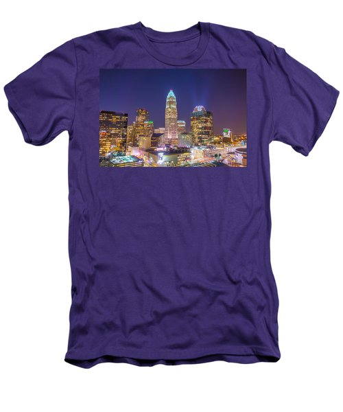 View Of Charlotte Skyline Aerial At Sunset Men's T-Shirt (Athletic Fit)
