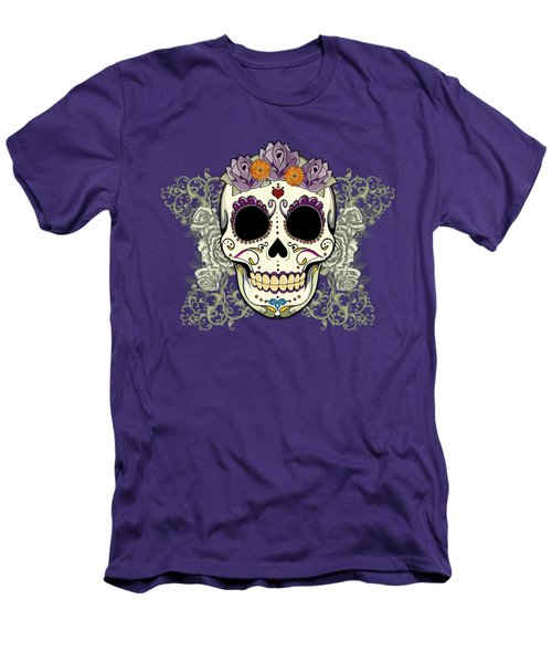 Vintage Sugar Skull And Flowers Men's T-Shirt (Slim Fit) by Tammy Wetzel