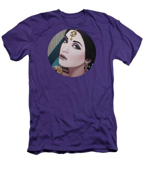 Men's T-Shirt (Slim Fit) featuring the painting Viridian Indian Beauty by Malinda Prudhomme