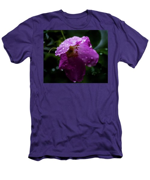 Men's T-Shirt (Slim Fit) featuring the photograph Wet Wild Rose by Darcy Michaelchuk