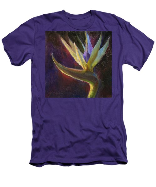 Men's T-Shirt (Slim Fit) featuring the painting White Bird Of Paradise -tropical Flower Painting by Karen Whitworth