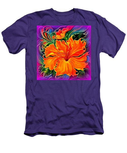 Wild Purple Hibiscus Men's T-Shirt (Slim Fit) by Yolanda Rodriguez