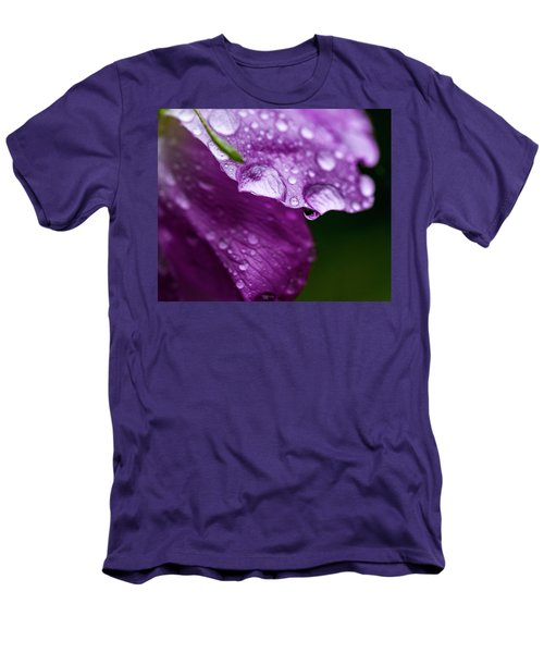 Men's T-Shirt (Slim Fit) featuring the photograph Wild Rose Droplet by Darcy Michaelchuk