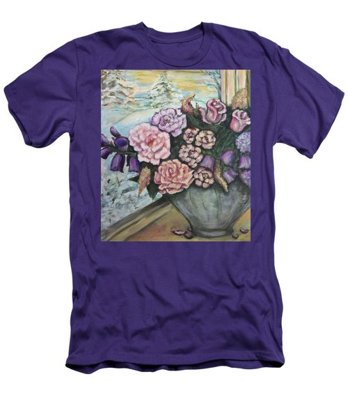 Men's T-Shirt (Slim Fit) featuring the painting Winter Flowers by Rae Chichilnitsky