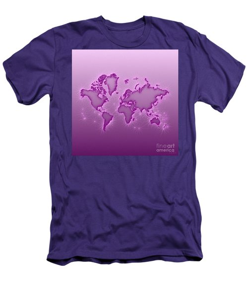 World Map Opala Square In Purple And Pink Men's T-Shirt (Athletic Fit)