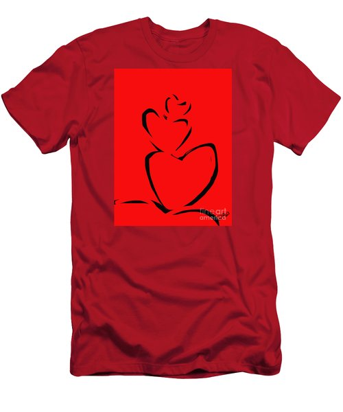 Men's T-Shirt (Slim Fit) featuring the painting  A Stack Of Hearts by Go Van Kampen