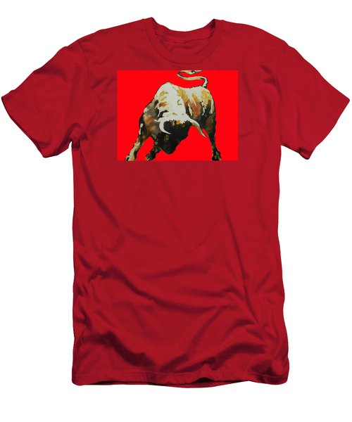 Fight Bull In Red Men's T-Shirt (Slim Fit) by J- J- Espinoza
