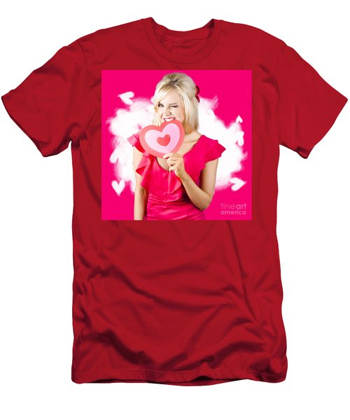 Cute Love Hungry Girl Eating Big Red Heart Men's T-Shirt (Athletic Fit)