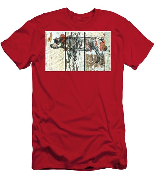 Men's T-Shirt (Slim Fit) featuring the drawing Danish Duroc Boar by Larry Campbell