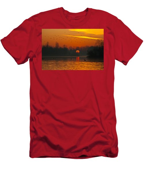 Men's T-Shirt (Athletic Fit) featuring the photograph Morning Over River by Davor Zerjav