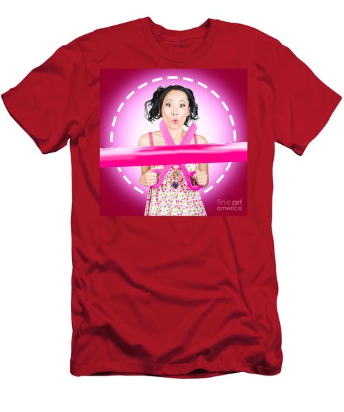 Surprised Hairdressing Woman With Beautiful Hair Men's T-Shirt (Athletic Fit)