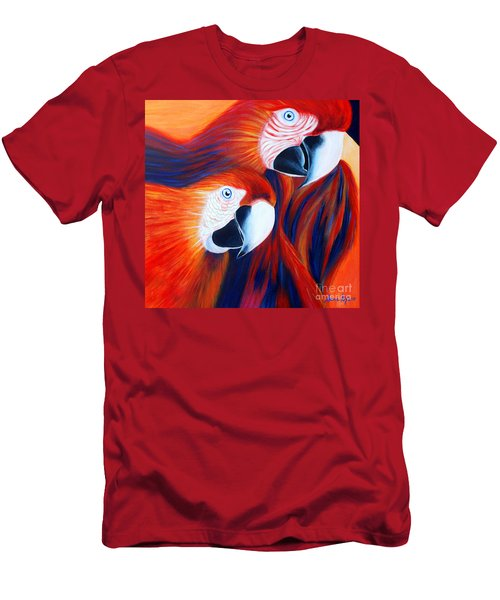 Men's T-Shirt (Slim Fit) featuring the painting Two Parrots. Inspirations Collection. by Oksana Semenchenko