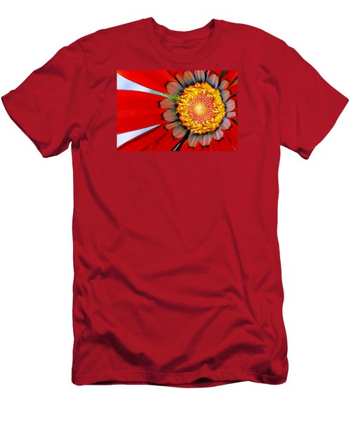 Men's T-Shirt (Slim Fit) featuring the photograph Zinnia In Red by Wendy Wilton