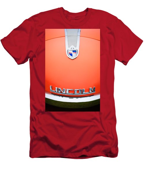Men's T-Shirt (Athletic Fit) featuring the photograph 1955 Lincoln Indianapolis Boano Coupe Emblem by Jill Reger
