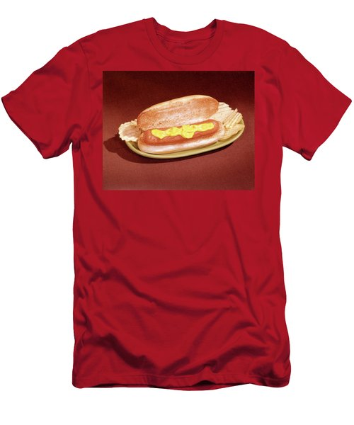 1960s Hot Dog On Toasted Bun Mustard Men's T-Shirt (Athletic Fit)