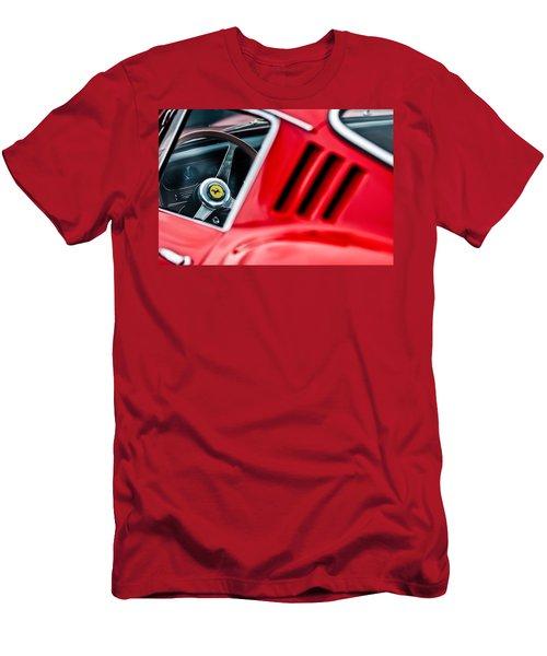 Men's T-Shirt (Athletic Fit) featuring the photograph 1966 Ferrari 275 Gtb Steering Wheel Emblem -0563c by Jill Reger
