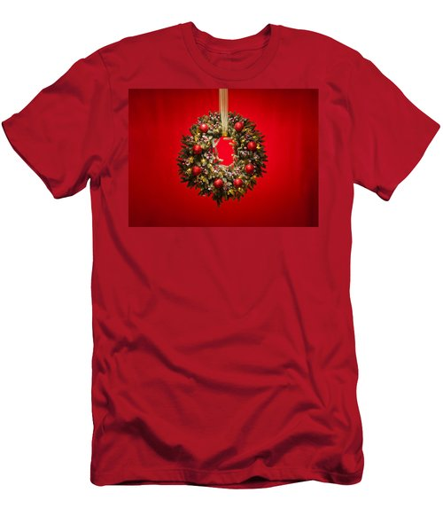 Advent Wreath Over Red Background Men's T-Shirt (Athletic Fit)