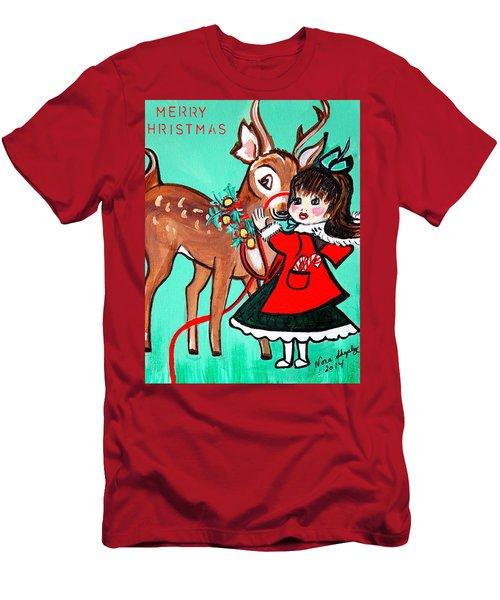 Little Girl With Reindeer Men's T-Shirt (Athletic Fit)