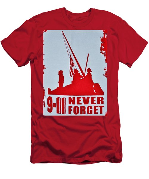 Men's T-Shirt (Slim Fit) featuring the photograph 9-11 Never Forget Poster  by Bob Sample