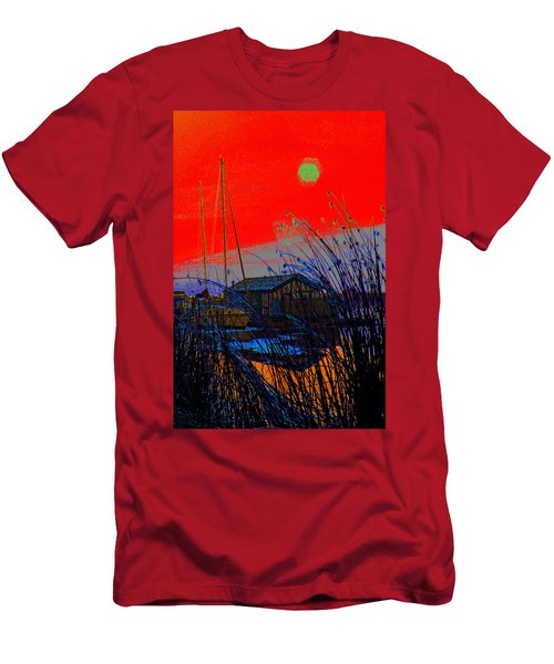A Digital Marina Sunset Men's T-Shirt (Athletic Fit)