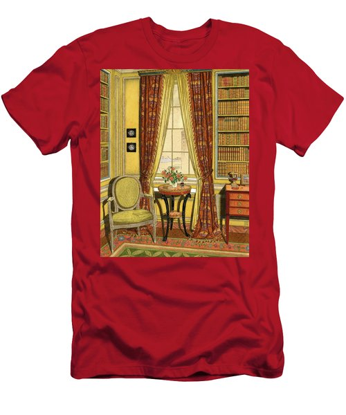 A Yellow Library With A Vase Of Flowers Men's T-Shirt (Athletic Fit)