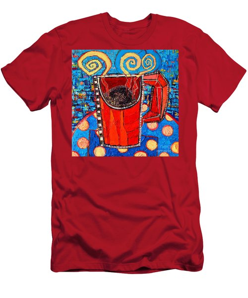 Abstract Hot Coffee In Red Mug Men's T-Shirt (Slim Fit) by Ana Maria Edulescu