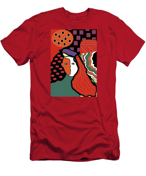 Abstract Lady Men's T-Shirt (Slim Fit) by Vickie G Buccini