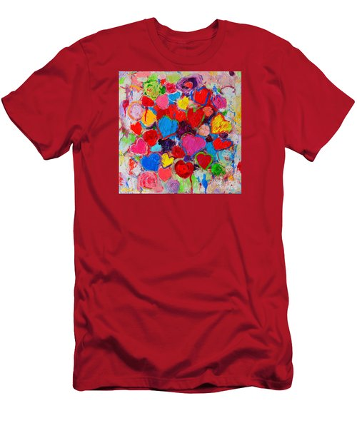 Abstract Love Bouquet Of Colorful Hearts And Flowers Men's T-Shirt (Slim Fit) by Ana Maria Edulescu