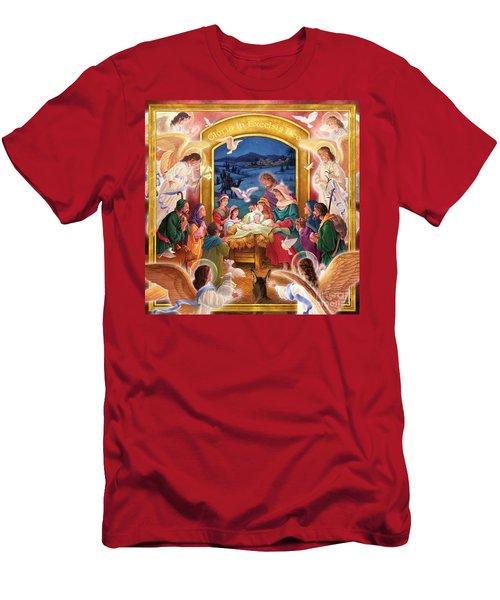 Adoring Angels Nativity Square Men's T-Shirt (Athletic Fit)