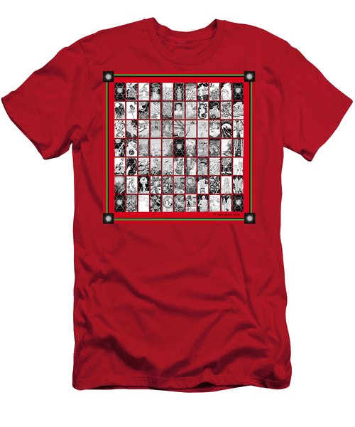 Men's T-Shirt (Slim Fit) featuring the painting Album Quilt In Turkey Red And Poison Green by Carol Jacobs