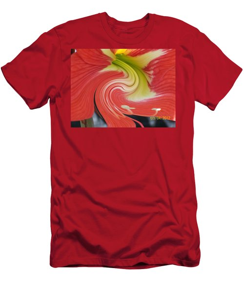 Men's T-Shirt (Slim Fit) featuring the photograph Amarylis Twirl by Belinda Lee