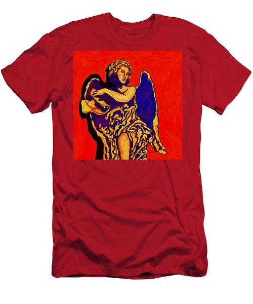 Angel On Red Men's T-Shirt (Athletic Fit)
