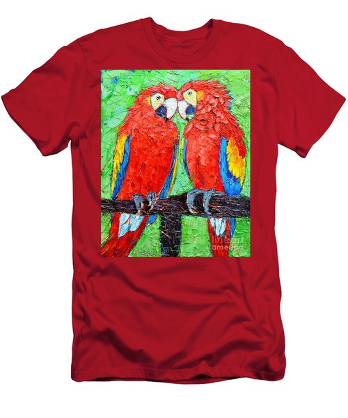 Ara Love A Moment Of Tenderness Between Two Scarlet Macaw Parrots Men's T-Shirt (Slim Fit) by Ana Maria Edulescu
