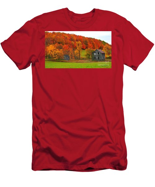 Men's T-Shirt (Slim Fit) featuring the photograph Autumn Abandoned by Terri Gostola