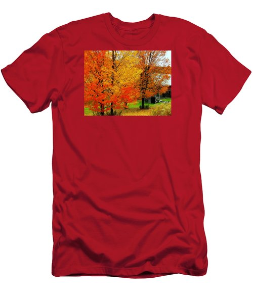 Men's T-Shirt (Slim Fit) featuring the photograph Autumn Trees By Barn by Rodney Lee Williams