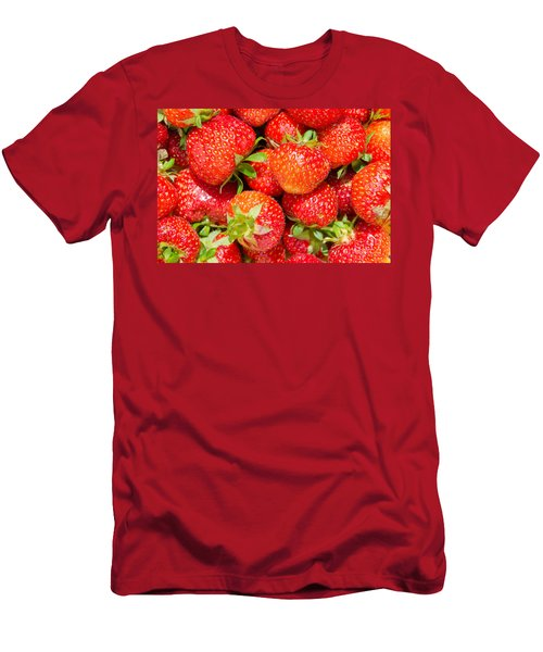Men's T-Shirt (Slim Fit) featuring the photograph Background Of Strawberries by Kennerth and Birgitta Kullman