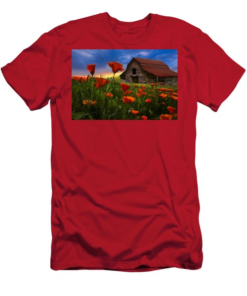 Barn In Poppies Men's T-Shirt (Athletic Fit)