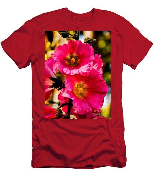 Beautiful Pink Hollyhock Men's T-Shirt (Athletic Fit)