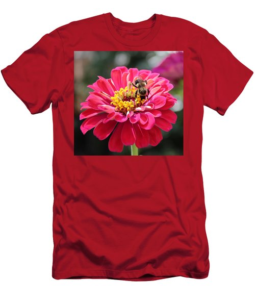 Men's T-Shirt (Slim Fit) featuring the photograph Bee On Pink Flower by Cynthia Guinn