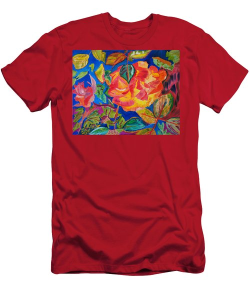 Men's T-Shirt (Slim Fit) featuring the painting Blossoms Aglow by Meryl Goudey
