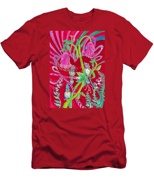 Men's T-Shirt (Slim Fit) featuring the painting Blue Bird Trio And Heart by Adria Trail