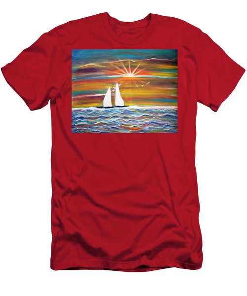 Boats At Sunset Men's T-Shirt (Athletic Fit)