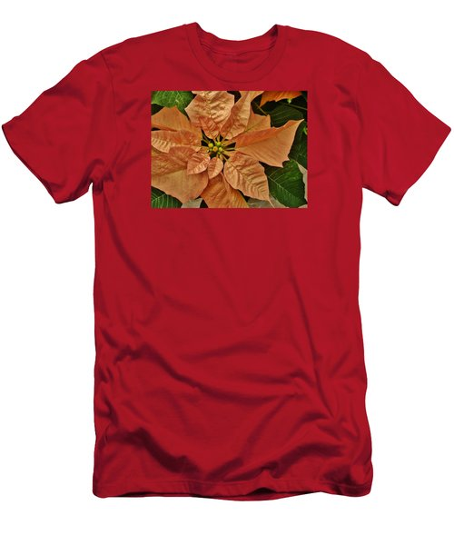 Bronze Poinsettia 3 Men's T-Shirt (Slim Fit) by VLee Watson