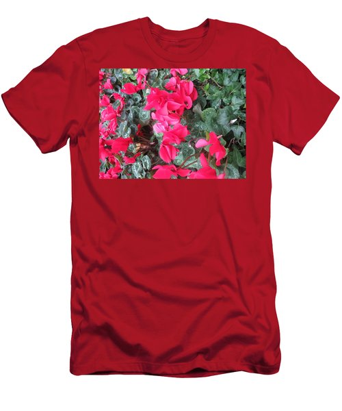 Men's T-Shirt (Slim Fit) featuring the photograph Butterfly Garden Red Exotic Flowers Las Vegas by Navin Joshi