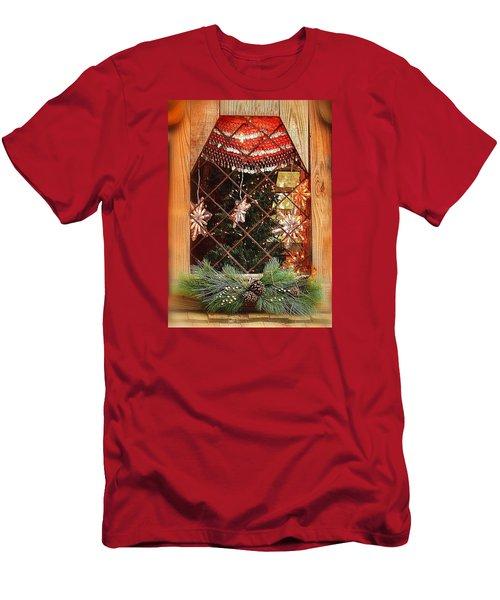 Cabin Christmas Window Men's T-Shirt (Slim Fit) by Nadalyn Larsen